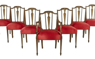 Seven Hepplewhite-Style Mahogany Dining Chairs