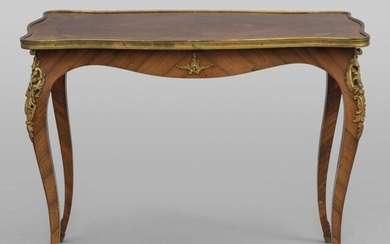 Small centre table in Louis XV style, rosewood lastronato and carved in rosewood three drawers on the front with a rich decoration underneath in gilded bronze France sec.XIXcm
