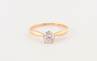 Solitaire ring in yellow gold (750) set with a brilliant-cut diamond in claw setting.