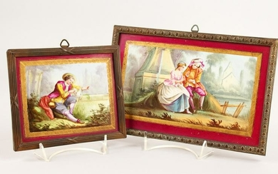TWO 19TH CENTURY FRENCH PORCELAIN PLAQUES, young