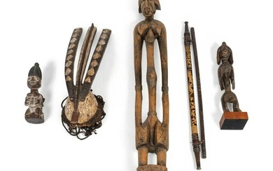 Ten African Carved Wood Sculptures Heights 11 to 50