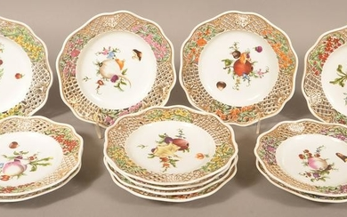 Twelve Dresden Type Hand Painted Porcelain Plates.