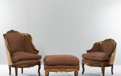 Two Louis XV-style Carved Giltwood Bergeres and Pouf