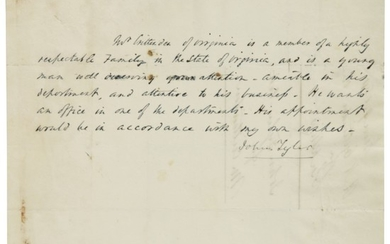 Tyler, John as Vice President, letter signed to an unidentified correspondent, Washington, [D.C.], 10 March 1841