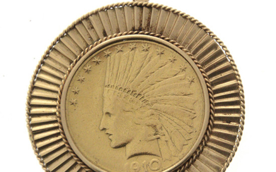 USA 10 Dollars Indian Head Gold Coin Brooch Pendant, 1910.