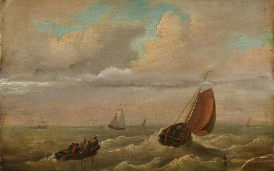 Unsigned. 19th century. Boats on the high seas with