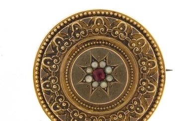 Victorian unmarked gold mourning brooch (tests as 15ct gold)...