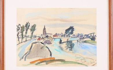 View of Asperen aan de Linge, watercolor dated