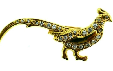 Vintage 14k Yellow Gold Diamond Peafowl Brooch