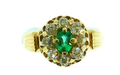 Vintage 18k Yellow Gold Emerald Diamond Cluster Ring