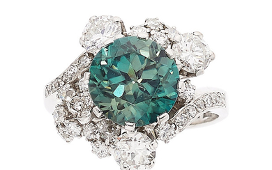 Zircon, Diamond, White Gold Ring The ring features a...