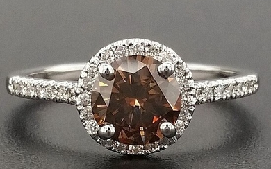1.16ct Natural Fancy Vivid Brownish Orange, Diamonds - 14 kt. White gold - Ring - ***No Reserve Price***
