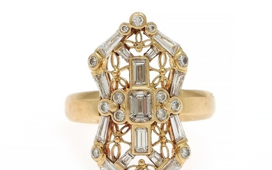A diamond ring set with an emerald-cut diamond encircled by numerous baguette and brilliant-cut diamonds totalling app. 1.60 ct., mounted in 18k gold.