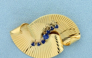 1/2ct TW Sapphire Pin in 14K Yellow Gold