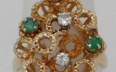14K YELLOW GOLD NATURAL ROUND EMERALD GREEN MAY NATURAL