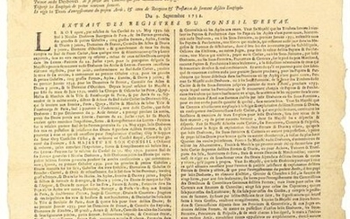 1732. BURGUNDY. Arrest of the Council of State of the King for the Taking of Possession of the Lease of the United General Farms, under the Name of Master NICOLAS DESBOVES, for six years... for the Grandes & Petites Gabelles, Five Big Farms, Paper &...