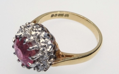 18 CT GOLD PINK TOURMALINE AND DIAMOND CLUSTER RING, SIZE J ...