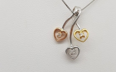 18 kt. Pink gold, White gold, Yellow gold - Necklace with pendant - 0.03 ct Diamond