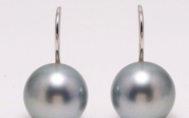 18 kt. White Gold - 11x12mm Round Tahitian Pearls - Earrings