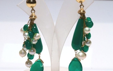 18 kt. Yellow gold - Earrings - Pearls, Green agate