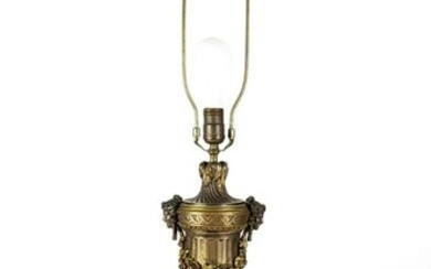 19th C. French Art Noveau Bronze & Rouge Marble Lamp