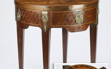 19th c. French marquetry inlaid side table