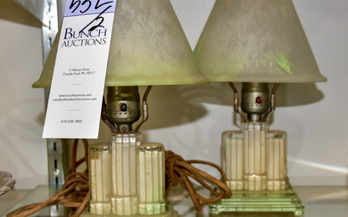 (2) Art Deco Glass Table Lamps