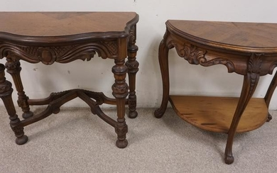 2 CARVED DEMILUNE STANDS