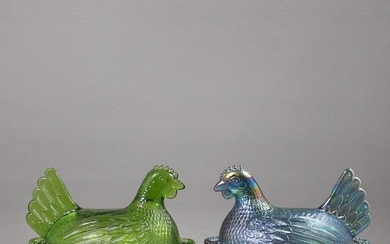 [2] Fenton Glass Green and Purple Iridescent Hens Bowls