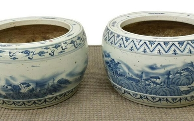 (2) LARGE CHINESE B & W PORCELAIN SCENIC PLANTERS