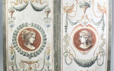 (2) Large Decorative Faux Fresco's, Early 21st C