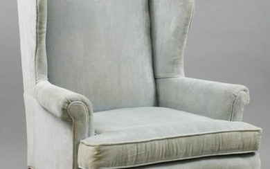 20th c Queen Anne style wing chair in light blue velvet
