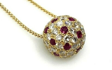 2.74 cts. Ruby and Diamond Ball Pendant on Chain in 18k