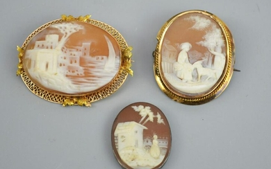 3 Antique Cameos (Two 14k Gold, 1 Signed)
