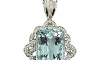 31.45 carat Aquamarine & Diamond Pendant with Chain