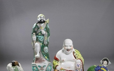 [4] Four Assorted Chinese Porcelain Figures with Buddha