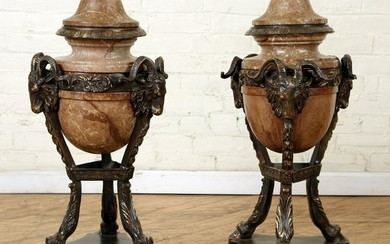 LARGE PAIR BRONZE MABRLE COVERED URNS RAMS HEAD