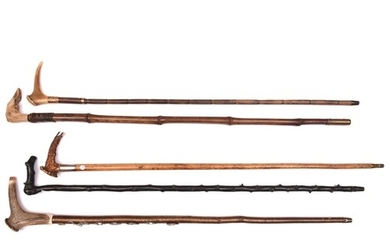 5 walking sticks: malacca with staghorn handle having silver...