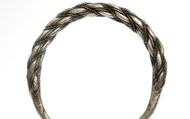 Viking Solid Bracelet with Fine Silver Rope, c. 9th -