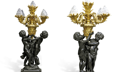 A PAIR OF LARGE FRENCH GILT AND PATINATED-BRONZE FIGURAL FIVE-LIGHT CANDELABRA, 20TH CENTURY