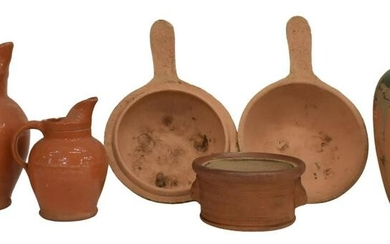 5)FRENCH EARTHENWARE POTTERY PITCHERS & VESSELS