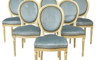 (6) FRENCH LOUIS XVI STYLE PAINTED DINING CHAIRS