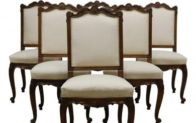 (6) FRENCH PROVINCIAL LOUIS XV STYLE DINING CHAIRS