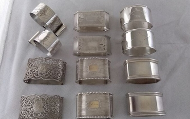 6 pairs of napkin holders(12) - .750 (18 kt) gold, .800 silver - Italy - 20th century