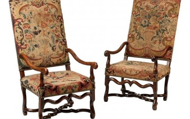 61053: A Pair of French Louis XIII-Style Walnut Tapestr