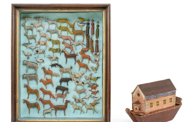 """GERMAN CARVED AND PAINTED WOODEN NOAH'S ARK Together with a shadow box containing 68 animal figures. Ark height 8"""". Length 12"""". Shad.."""