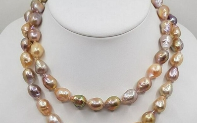925 Silver - 10x12mm Multi Edison Pearls - Necklace