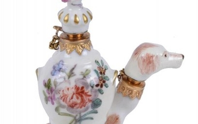 A Charles Gouyn St. James's factory type scent bottle and stopper of a hound and urn painted with flowers