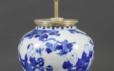 A Chinese Blue and White Porcelain Baluster Shaped Vase,...
