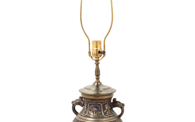 A Chinese Cloisonné Vase Mounted as a Lamp